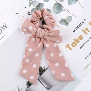 Pink Polka Dot Hair Bow Scrunchie